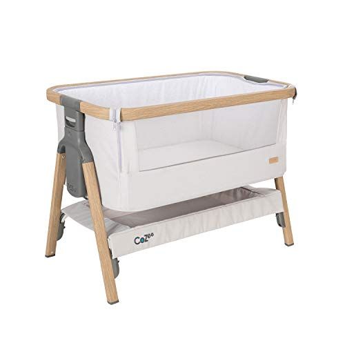 Tutti Bambini Cozee - Cuna para bebé, Ideal también para enganchar a la Cama o como Cama de Viaje, Roble y Plata, 80,5 x 51 cm