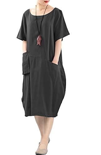 FTCayanz Damen Leinenkleider Sommerkleid Kurzarm Große Größen Leinen Tunika Kleid mit Taschen Schwarz XL