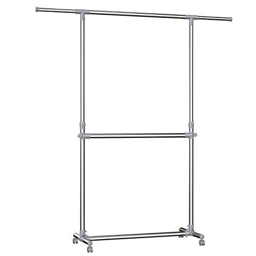 SONGMICS Kleiderständer höhenverstellbar, Garderobenständer, ausziehbare Kleiderstange, zusätzliche Stange im mittleren Bereich, (101-166) x 49 x (113-198) cm, Silber-graugrün, LLR401