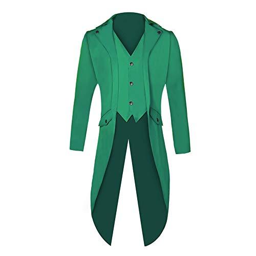Shujin Herren Vintage Frack Steampunk Gothic Jacke Viktorianischen Langer Mantel Fasching Karneval Cosplay Kostüm Smoking Jacke Uniform (Grün, L)