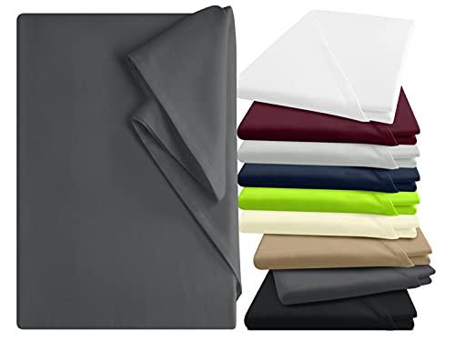 npluseins Bettlaken - 100% Baumwolle - in 9 Farben - in 3 verschiedenen Größen - Haushaltstuch ohne Spanngummi, ca. 240 x 275 cm, anthrazit