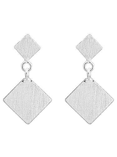 Ohrringe 925 Sterling Silber Ohrringe eckige gebürstete quadratische Kunst Temperament Ohrringe Frauen Accessoires