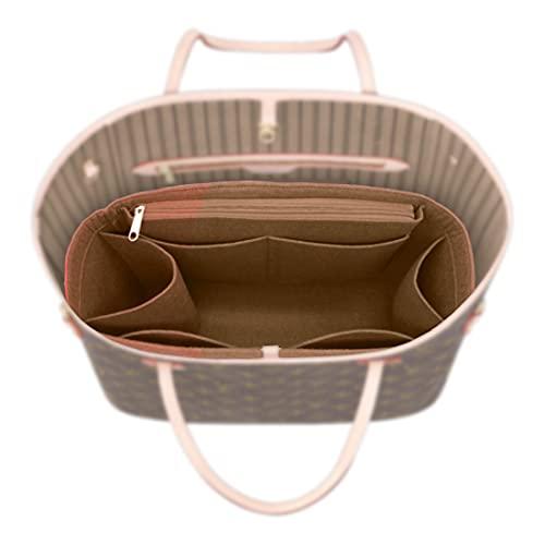 Victoria Lee Felt Cosmetic Bag Organizer Insert with zipper Bag Tote Shaper (Brown, 40CM)