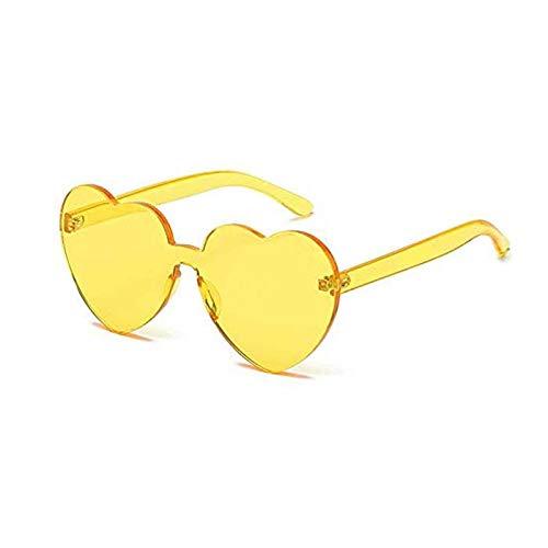 Lorigun hartvorm zonnebril feest zonnebril transparant snoep kleur frameloze randloze bril getinte brillen voor party cosplay (geel)