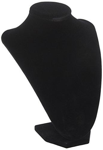(1, Black) - Adorox Black Velvet Necklace Pendant Chain Jewellery Bust Display Holder Stand (1, Black)