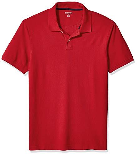Amazon Essentials Men's Slim-Fit Cotton Pique Polo Shirt, -Red, Large
