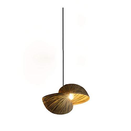 Iluminacion colgante elegante moda creativa restaurante colgante lampara unica con lamparas de bambu hechas a mano lampara colgante sobre mesa de comedor lampara de salon, E14 36 * 22cm, 1-Flame