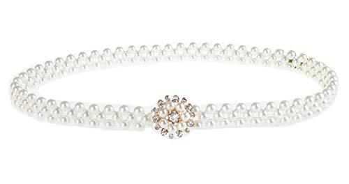 Stretch Belts for Women Pearl Rhinestone Amiveil White Elastic Belt