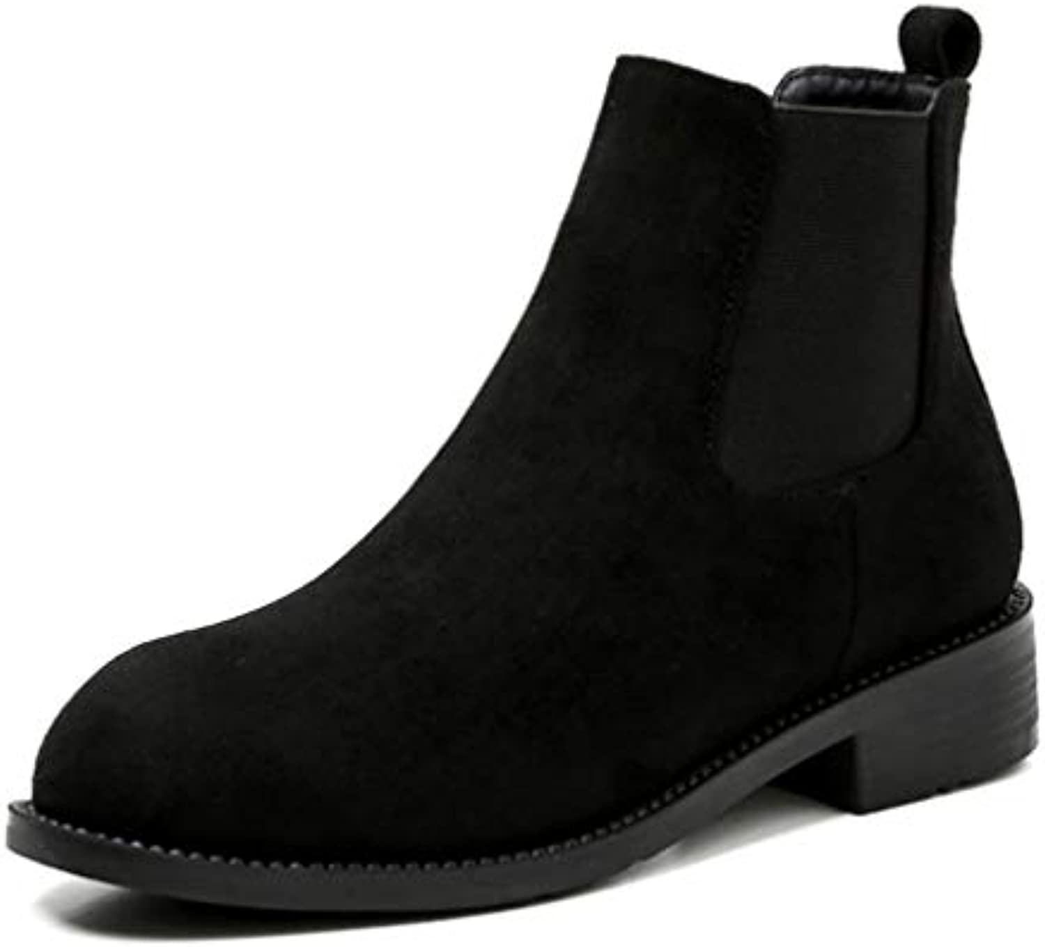 T-JULY Women Spring Chelsea Boots Square Heels Autumn Ankle Boots Female Slip On Suede shoes Ladies Casual shoes