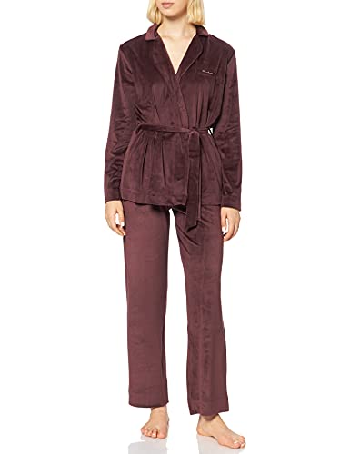 Emporio Armani Underwear Shiny Velvet Chaqueta + pantalón, Coffee, L De Las Mujeres