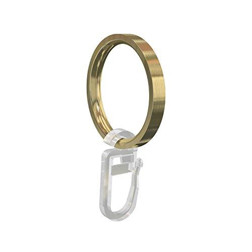 Flairdeco Gardinenringe/Ringe mit Faltenhaken, Metall, Messing-Optik, 33/27 mm, 20 Stück