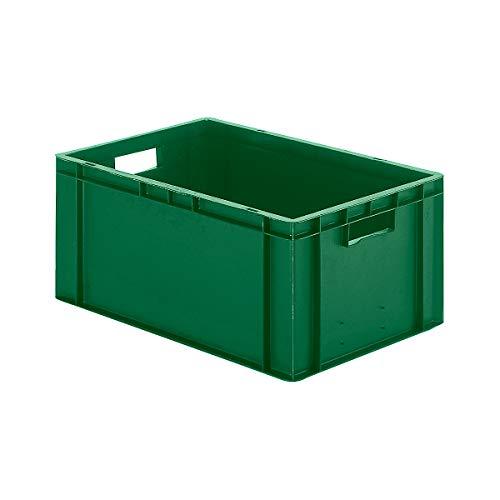 EURO-Behälter | Wände und Boden geschlossen | LxBxH 600 x 400 x 266 mm | Grün | VE 5 Stk - Behälter aus Kunststoff EUR-Stapelbehälter Euronorm Stapelkasten Euronorm Stapelkästen Euronorm-Stapelkasten Euronorm-Stapelkästen Kunststoff-Behälter