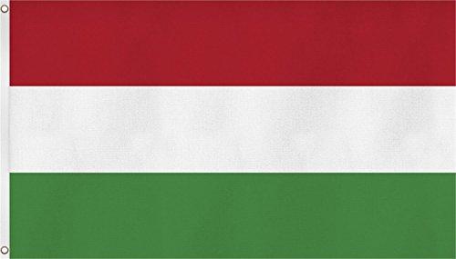 normani Fahne/Flagge mit Zwei Metallösen zur Befestigung und zum Hissen - Größe 90 x 150 cm Farbe Ungarn
