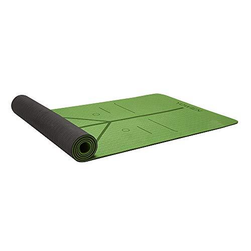 Yoga Mat, Tapete de Yoga, Estera de Yoga, 6mm Eco Friendly Pilates Mat, Colchoneta de Yoga Extra Larga y Ecológica Colchón de Ejercicios Antideslizante Esterilla de Entrenamiento para Pilates y Yoga con un Sistema de Alineación Corporal (Verde - Negro)