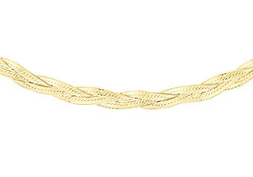 Carissima Gold 9ct Yellow Gold 3 Plait Herringbone Curb Chain Necklace of 43cm/17'