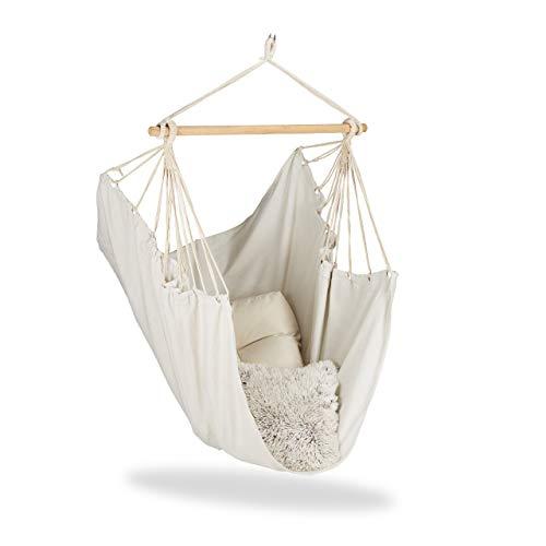 Relaxdays Hängesitz, XL Hängesessel aus Baumwolle, für Kinder & Erwachsene, Aufhängung, In- & Outdoor, bis 150 kg, beige
