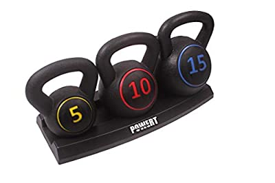 POWERT 3-Piece Kettlebell Weight Set of 5, 10, 15 lbs with Base Rack| HDPE Covered Ergonomic Wide Handle Design from TTCZ Sport