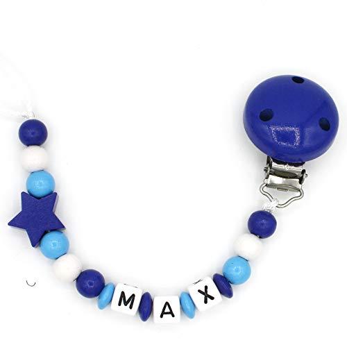 """Schnullerkette """"Mundspiel"""" mit Namen - Junge - dunkelblau - Geschenk zur Geburt oder Taufe (Max)"""