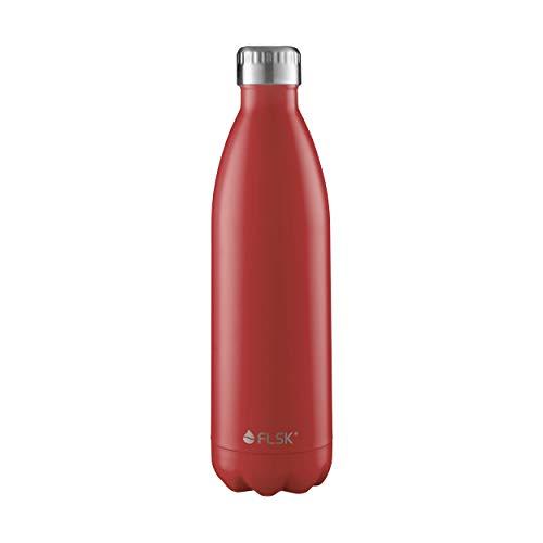 FLSK das Original Trinkflasche Thermoflasche Isolierflasche hält 18h heiß - 24h kalt (Farbe Bordeaux, Grösse 750ml)