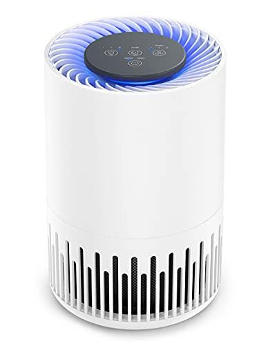 Luftreiniger Air Purifier mit 3-in-1 HEPA Filter 4 Lüfterstufen 99,97% Filterleistung Leiser Betrieb gegen Staub Pollen Tierhaare Weiß