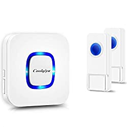 Coolqiya Wireless Doorbell Chimes with 2 Remote Waterproof Door Bell Buttons