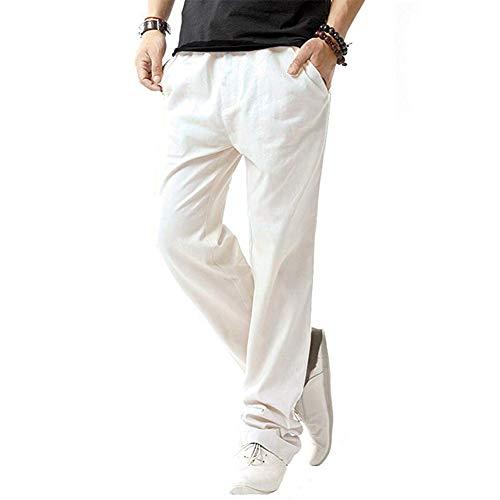 SIR7 Men's Linen Casual Lightweight Drawstrintg Elastic Waist Summer Beach Pants White XL
