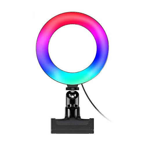 WYHM Escritorio 8' RGB Anillo Luz de Escritorio de la Cámara de Escritorio para la Conferencia Maquillaje de Iluminación, Mini Clip de Teléfono Portátil con 13 Modos RGB 3 Brillo Universal