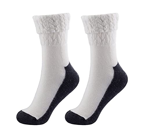 SigNature Socks 2 oder 4 Paar Flauschig & Warm Angora Wollsocken Damen mit verstärkter Sohle Gemütlich & Atmungsaktiv Strümpfe Damen Kuschelsocken Damen in Geschenkbox Größe 35-38 / 39-42