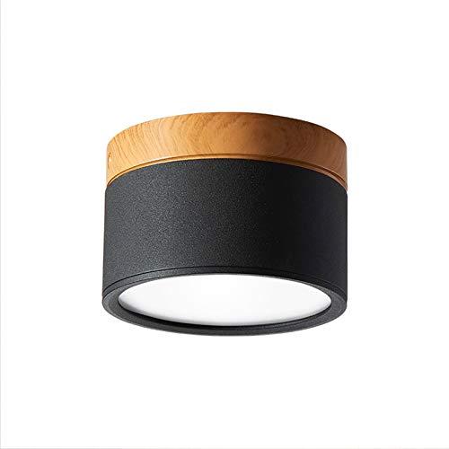 Temgin Focos Superficie Negro Redondo 7W Focos para Techo Lámpara de Techo Blanco Cálido Aluminio Para Baño Cocina Pasillo...