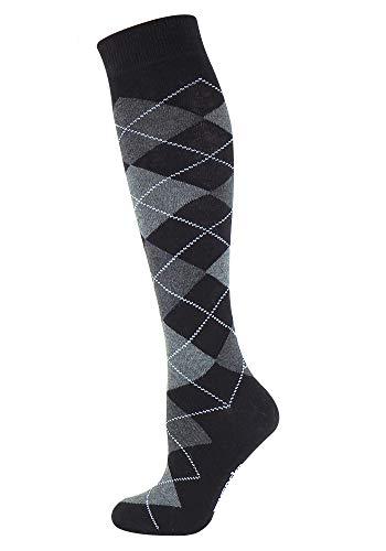 Mysocks Unisex Kniehohe Argyle Socken schwarz Dunkel anthrazit weiße Linie