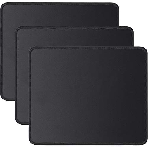 JIKIOU 3 Pack Mouse Pad with Stitched Edge, Comfortable Mouse Pads with Non-Slip Rubber Base, Washable Mousepads Bulk with Lycra Cloth, Mouse Pads for Computers Laptop Mouse 10.2x8.3x0.12inch Black