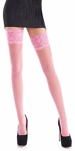 Romartex halterlose 20 DEN Strümpfe mit Elasthan, XL, rosa