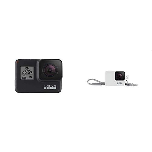 GoProHERO7Black-Cámaradeacción(sumergible hasta 10 m, pantalla táctil,vídeo4KHD,fotosde 12MP,transmisiónen directo yestabilizador) negro + Funda para cámara, incluye cordón, blanco