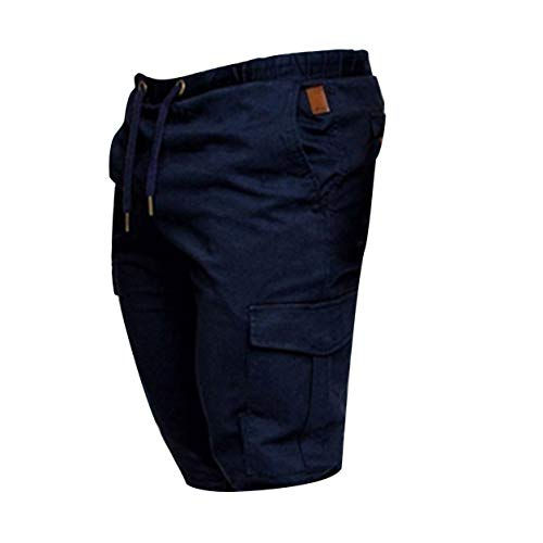 YXDS Pantalones Cortos de Encaje Casuales Sueltos de Color sólido con Estilo y Moda para Hombres Pantalones de Cinco Puntos de Secado rápido con Bolsillos