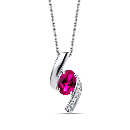 Orovi Collar Señora con cadena en Oro Blanco con Diamantes Talla Brillante y Rubí Oval 0.55 Ct Oro 9 Kt / 375 Cadena 45 Cm