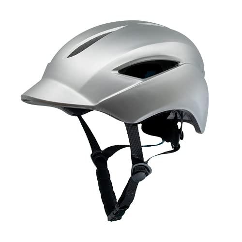 Casco de Bici para Hombres, Mujeres, niños y niñas | Casco de Bicicleta con luz LED Recargable por USB integrada | Casco de Bici Urbana Ligero | Tamaño 54-58 cm (M) y 58-61 cm (L) (Gris, L)