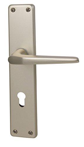 Alpertec 40364080PO Aluminium Türbeschlag Tanja II-LS Langschildgarnitur für Wohnungseingangstüren in Silber eloxiert PZ 72 MM Drücker, beidseitig