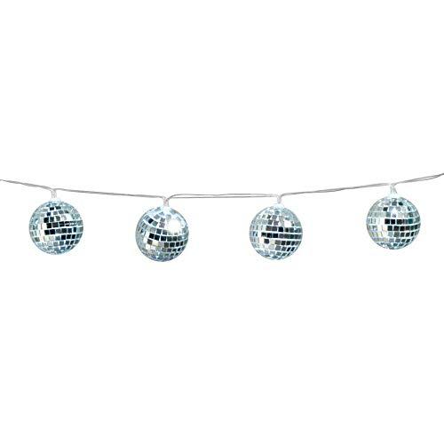 Boland 00768 - LED-Lichterkette Discokugeln, Länge 140 cm, Batterietyp 2xAA, Disco Fever, 70er Jahre, Dekoration, Karneval, Mottoparty