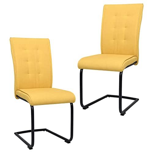 vidaXL 2X Sillas de Comedor Voladizas Jardín Asiento Mobiliario Muebles Salón Sala de Estar Cocina Escritorio Suave Relajación Tela Amarillo Mostaza