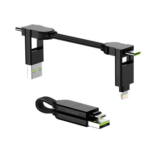 InCharge X 6-in-1 Ultra-Speed-Kabel, 100 W, kompatibel mit Apple/Samsung/Huawei/Xiaomi/OnePlus, 3 integrierte...