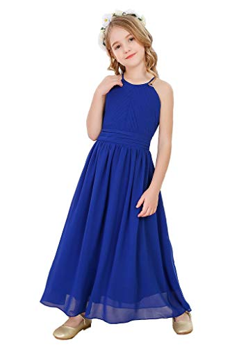 Bow Dream Flower Girl s Dress Chiffon Wedding Bridesmaid Youth Big Girls Pageant Party Evening Prom Gowns Royal Blue 12