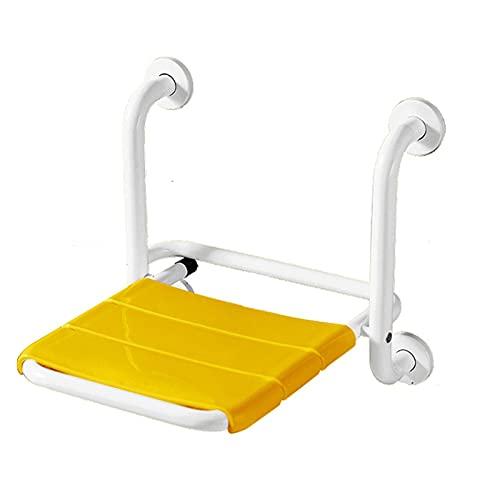 LRL Asiento Plegable de baño - Taburete de Pared Antideslizante sin Deslizamiento para los Ancianos Taburete de baño sin barreras para los discapacitados (Color : Yellow)