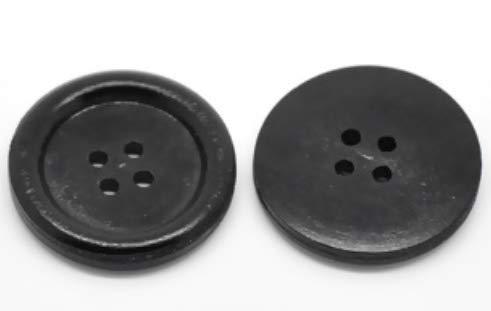 Handarbeit-Lieblingsladen 30 Stück edle Holzknöpfe schwarz 30mm - 4 Löcher - zum aufnähen, nähen, basteln, für Scrapbooking - runde Holzknöpfe - Mantelknöpfe Jackenknöpfe Dekoknöpfe