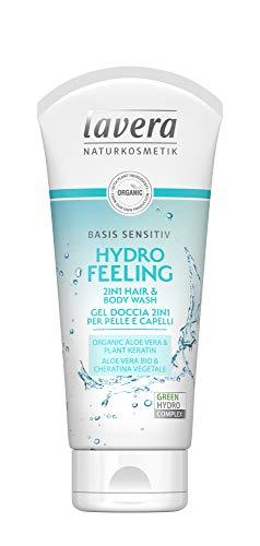 Lavera Hydro Feeling Douchegel 2-in-1 voor huid en haar, veganistisch, 100% natuurlijke cosmetica, 800 ml (4 x 200 ml)