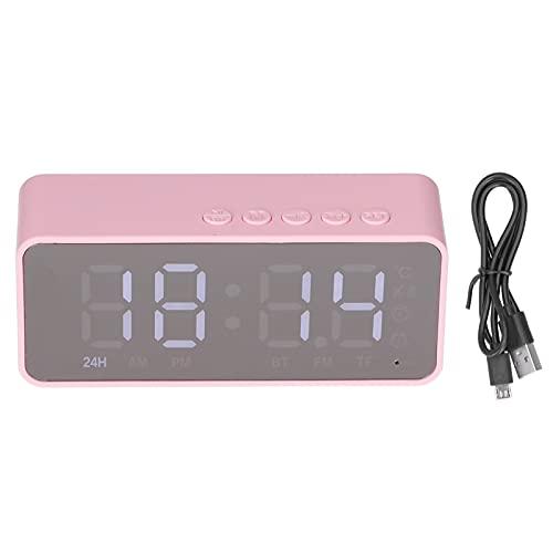 Radio reloj despertador con altavoz Bluetooth, altavoz reloj Bluetooth multifuncional, reloj despertador doble, pantalla de espejo LED, reproducción de música 5-7H, para dormitorio, oficina(rosado)