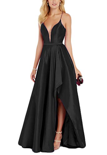 liangjinsmkj V Neck High Low Prom Dresses Long Slit Taffeta Formal Bridesmaids Evening Gown