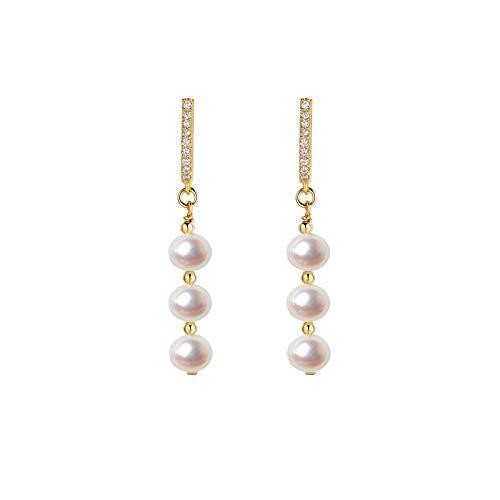WENMENG2021 Pendientes de Diamantes Pendientes de Perlas Naturales Temperamento Femenino Pendientes de Plata Largos Pendientes Retro Nueva Tendencia Pendientes Colgantes