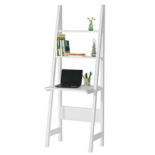 SoBuy® Moderno scaffale a Scala con scrivania salvaspazio Colore:Bianco FRG60-W,IT