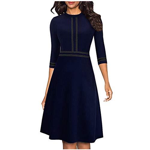LILICAT Damen Vintage Kleid Knielang Rundhals mit Halbarm Skaterkleid Sommerkleid Elegant Partykleid Retro Cocktailkleider Freizeit A-Linie Minikleid