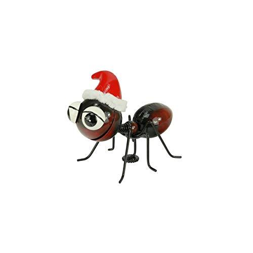 Holzwurm Dekofigur Metall Ameisen mit Magnetfuß , Gartenfigur , Metallfigur , Blechfigur (Ameise mit Weihnachtsmütze)